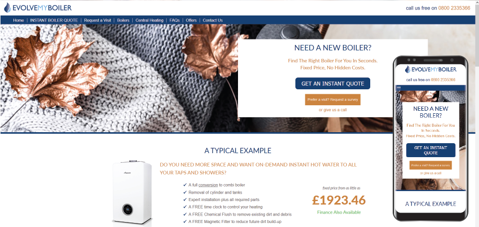 Evolve My Boiler website